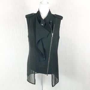 Kenneth Cole Black Vest Sheer Back Size S